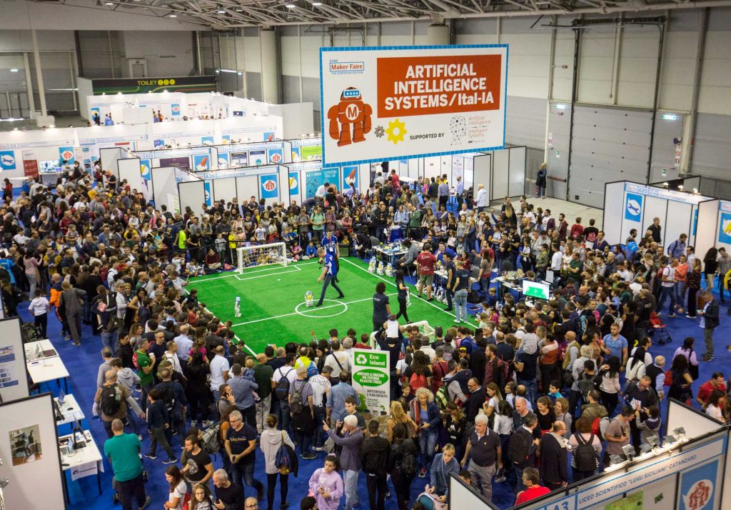 Overview Maker Faire Rome 2020: robot football match