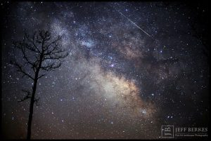 Astrophotographer Jeff Berkes captured this Lyrid meteor in the marshlands of southern Maryland on April 14, 2013. The 2020 Lyrid meteor shower will peak overnight on April 21-22, 2020. (Image credit: Jeff Berkes)