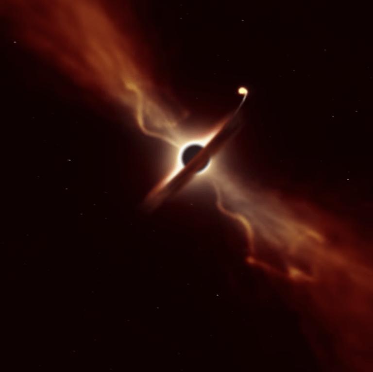 """La """"spaghettificazione"""" di una stella mentre viene inghiottita da un buco nero"""
