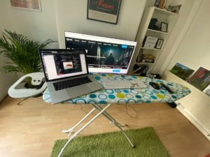 Ironing board as a standing desk